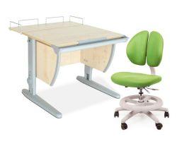 Комплект ДЭМИ Парта СУТ-14-01 75х55 см с задней приставкой с креслом Duo Kid mini и прозрачной накладкой на парту 65х45