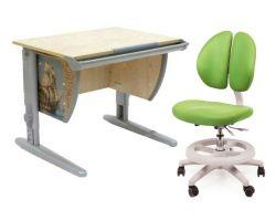 Комплект ДЭМИ Парта СУТ-14P 75х55 см с рисунком с креслом Duo Kid mini и прозрачной накладкой на парту 65х45