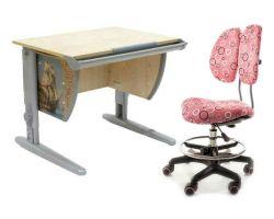 Комплект ДЭМИ Парта СУТ-14P 75х55 см с рисунком с креслом Simba и прозрачной накладкой на парту 65х45