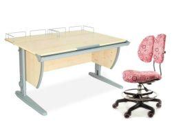 Комплект ДЭМИ Парта СУТ-15-01 120х55 см с креслом Simba и прозрачной накладкой на парту 65х45