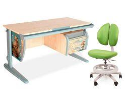 Комплект ДЭМИ Парта СУТ-15-03P 120х55 см с рисунком с креслом Duo Kid mini и прозрачной накладкой на парту 65х45
