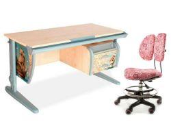 Комплект ДЭМИ Парта СУТ-15-03P 120х55 см с рисунком с креслом Simba и прозрачной накладкой на парту 65х45
