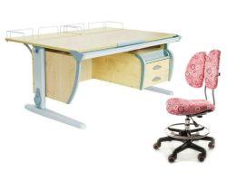 Комплект ДЭМИ Парта СУТ-15-04 120х55 см с задней приставкой с креслом Simba и прозрачной накладкой на парту 65х45