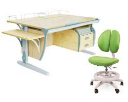 Комплект ДЭМИ Парта СУТ-15-05 120х55 см с креслом Duo Kid mini и прозрачной накладкой на парту 65х45