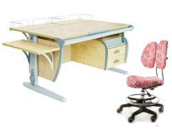 Комплект ДЭМИ Парта СУТ-15-05 120х55 см с креслом Simba и прозрачной накладкой на парту 65х45