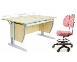 Комплект ДЭМИ Парта СУТ-17-01 120х80 см с креслом Simba и прозрачной накладкой на парту 65х45