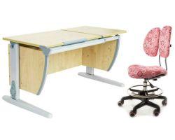 Комплект ДЭМИ Парта СУТ-17 120Х55 см с раздельной столешницей с креслом Simba и прозрачной накладкой на парту 65х45