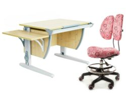Комплект ДЭМИ Парта СУТ 14К с креслом Simba и прозрачной накладкой на парту 65х45