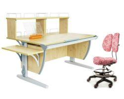 Комплект ДЭМИ Парта СУТ 15-02Д2 с креслом Simba и прозрачной накладкой на парту 65х45
