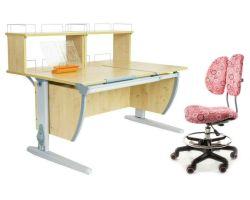 Комплект ДЭМИ Парта СУТ 17-01Д2 с креслом Simba и прозрачной накладкой на парту 65х45