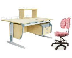 Комплект ДЭМИ Парта СУТ 17-04Д с креслом Simba и прозрачной накладкой на парту 65х45