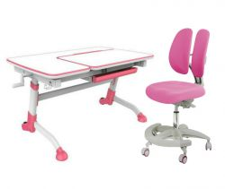 Комплект FunDesk Парта-трансформер Amare с креслом Primo и прозрачной накладкой на парту 65х45