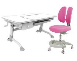 Комплект FunDesk Парта-трансформер Amare с ящиком с креслом Primo и прозрачной накладкой на парту 65х45