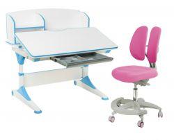 Комплект FunDesk Парта-трансформер Trovare с надстройкой с креслом Primo и прозрачной накладкой на парту 65х45
