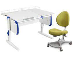 Комплект ДЭМИ Парта СУТ-25-01 WHITE DOUBLE с раздельной столешницей с креслом Neapol и прозрачной накладкой на парту 65х45