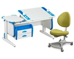 Комплект ДЭМИ Парта Techno СУТ 31-03 с тумбой с креслом Neapol и прозрачной накладкой на парту 65х45