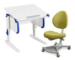 Комплект ДЭМИ Парта WHITE СТАНДАРТ СУТ 24 с креслом Neapol и прозрачной накладкой на парту 65х45
