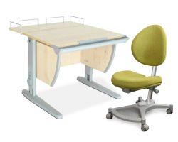 Комплект ДЭМИ Парта СУТ-14-01 75х55 см с задней приставкой с креслом Neapol и прозрачной накладкой на парту 65х45