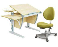 Комплект ДЭМИ Парта СУТ-14-02 75х55 см с задней и боковой приставкой с креслом Neapol и прозрачной накладкой на парту 65х45