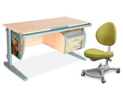 Комплект ДЭМИ Парта СУТ-15-03P 120х55 см с рисунком с креслом Neapol и прозрачной накладкой на парту 65х45