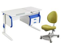 Комплект ДЭМИ Парта СУТ-25-03 WHITE DOUBLE с креслом Neapol и прозрачной накладкой на парту 65х45