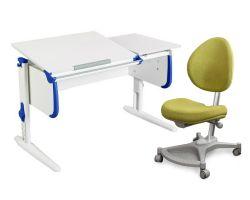 Комплект ДЭМИ Парта СУТ-25 WHITE DOUBLE с раздельной столешницей с креслом Neapol и прозрачной накладкой на парту 65х45
