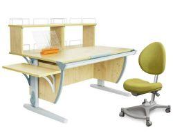 Комплект ДЭМИ Парта СУТ 15-02Д2 с креслом Neapol и прозрачной накладкой на парту 65х45