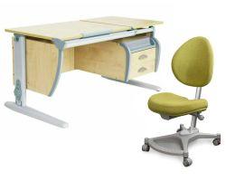 Комплект ДЭМИ Парта СУТ 17-03 120Х55 см с подвесной тумбой с креслом Neapol и прозрачной накладкой на парту 65х45