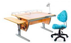 Комплект ДЭМИ Парта СУТ-15-02Р 120х55 см с рисунком с креслом Aladdin и прозрачной накладкой на парту 65х45