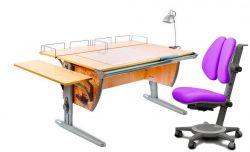 Комплект ДЭМИ Парта СУТ-15-02Р 120х55 см с рисунком с креслом Cambridge Duo и прозрачной накладкой на парту 65х45