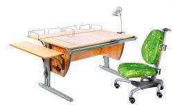 Комплект ДЭМИ Парта СУТ-15-02Р 120х55 см с рисунком с креслом Nobel и прозрачной накладкой на парту 65х45