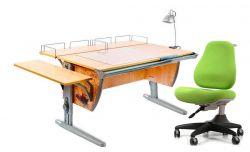 Комплект ДЭМИ Парта СУТ-15-02Р 120х55 см с рисунком с креслом Match Chair и прозрачной накладкой на парту 65х45