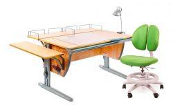Комплект ДЭМИ Парта СУТ-15-02Р 120х55 см с рисунком с креслом Duo Kid mini и прозрачной накладкой на парту 65х45