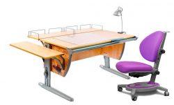 Комплект ДЭМИ Парта СУТ-15-02Р 120х55 см с рисунком с креслом Stanford и прозрачной накладкой на парту 65х45