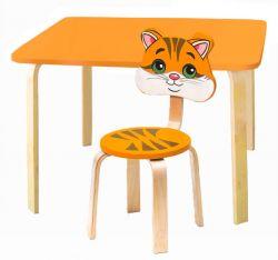 Комплект детской мебели Мордочки с оранжевым столиком