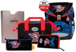 """Ранец ErgoFlex XL """"Осьминог"""", спортивная сумка, два пенала и папка-бокс"""