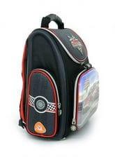 Черный ранец Hummingbird Speed Racer для мальчика (K43)