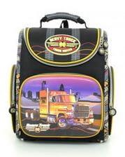 Черный ранец Hummingbird Heavy Truck для мальчика (K82)
