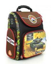Черный ранец Hummingbird World of Panzers для мальчика (K84)
