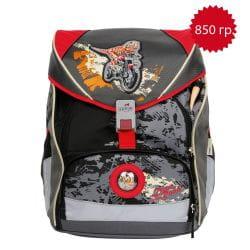 """Ранец ErgoFlex XL """"Динозавр-байкер"""", спортивная сумка, два пенала и папка-бокс"""